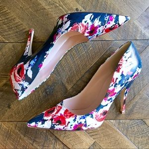 Kate Spade Licorice Navy Floral Print Pointy Pumps